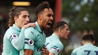 Pierre-Emerick Aubameyang celebrates scoring for Arsenal