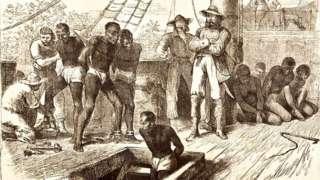Engraving of black slaves on ship