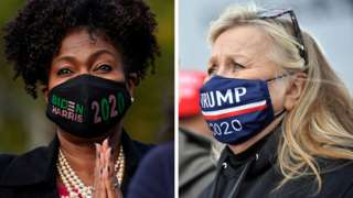 Composite image showing woman wearing Biden/Harris facemask and another woman wearing a Trump facemask
