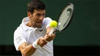 Novak Djokovic in action at Wimbledon
