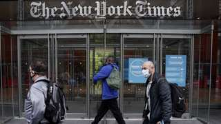 The New York Times office is pictured in the Manhattan borough of New York City, New York, U.S., September 28, 2020