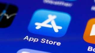 Apple app store logo on a phone screen