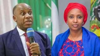 Minister of Transportation Rotimi Amaechi and suspended Managing Director of NPA Hadiza Bala-Usman