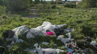 Rubbish in a field