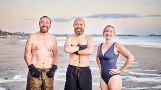 Sea swimmers (L-R) Andy Neill, Graham Jones and Katy Keightley