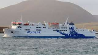 The ferry Hamnavoe which runs between Scrabster and Stromness