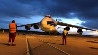 Cargo plane Antonov 124 lands at Belfast International Airport
