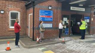 People queuing for vaccinations at Moorlands Hospital on Monday