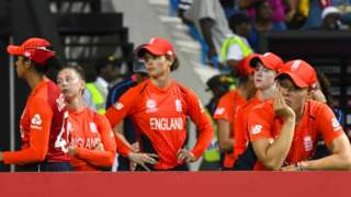 England players after the Women's World Twenty20 loss
