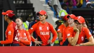 England players after the Women's World Twenty20 loss