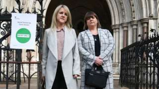 Former subpostmasters Janet Skinner (left) and Tracy Felstead outside the Royal Courts of Justice, London.