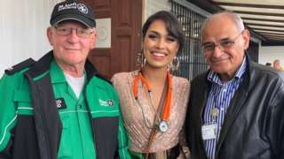 A first-aider from St John's Ambulance, Miss England, Dr Bhasha Mukherjee and Prof Rashid Gatrad and