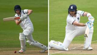 Warwickshire batsmen Dom Sibley (left) and Ian Bell