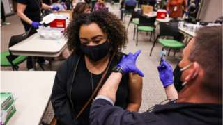 Covid vaccine being administered in the US