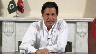 Imran Khan addressing Pakistan after claiming victory in the election