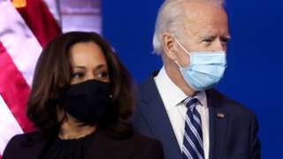 Vice-President-elect Kamala Harris and President-elect Joe Biden (file pic 10 Nov)