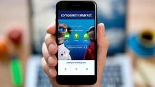 Compare The Market page on smartphone with laptop in the background
