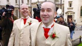 Chris and Henry Flanagan-Kane at their civil partnership ceremony in 2005