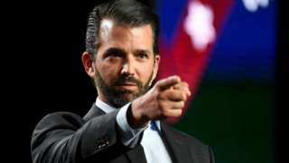 Donald Trump Jr pointing during a speech