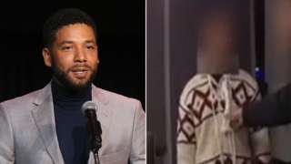 Jussie Smollett file picture and an image taken from a video showing him with a noose around his neck
