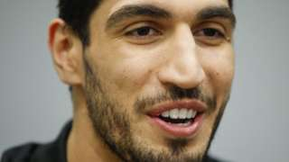 Enes Kanter speaks to the media during a news conference on 22 May 2017 in New York City, NY, USA