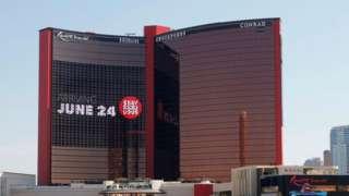 An exterior view shows construction continuing at Resorts World Las Vegas.