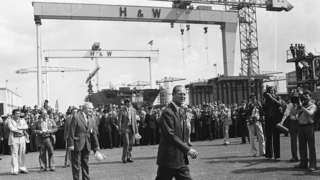The Duke of Edinburgh on a visit to Harland and Wolff in July 1977