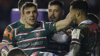 Leicester celebrate Ben White's try against Cardiff Blues