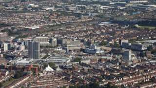 Aerial shot of Swindon