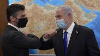 Benjamin Netanyahu (R) meets first ambassador of United Arab Emirates (UAE) to Israel, Mohamed Mahmoud Al Khaja in March