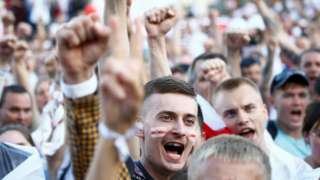 People take part in a protest against the presidential election results demanding the resignation of Belarusian President Alexander Lukashenko and the release of political prisoners,