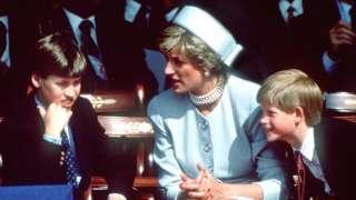 图为1995年,威廉王子与母亲戴安娜王妃及弟弟哈里王子一同出席活动。