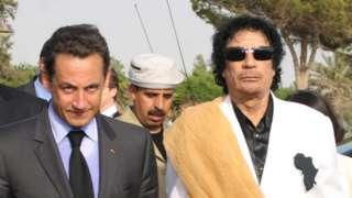 Ex-French President Nicolas Sarkozy (L) with Gaddafi in Libya in Tripoli, 25 Jul 07