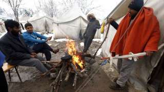 Migrants at the Vucjak refugee camp outside Bihac, north-western Bosnia and Herzegovina, on 4 December 2019