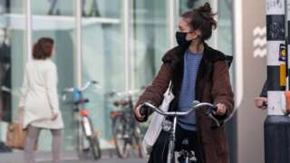 Daily life in Eindhoven city in the Netherlands with people wearing facemask as they are outside