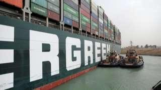 سفينة إيفر غيفن الجانحة في قناة السويس