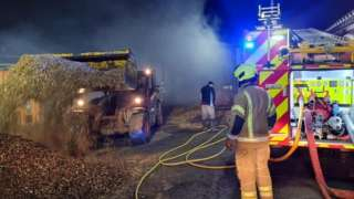 Wood chip store fire