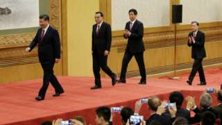 Xi Jinping and other new members of the standing committee take the stage