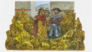 Ilustración de Atahualpa y Franscisco Pizarro