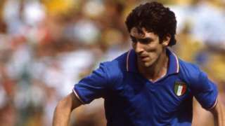 Paolo Rossi in action at the 1982 World Cup against Brazil