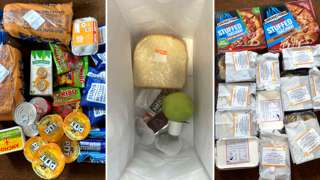 A variety of student food parcels