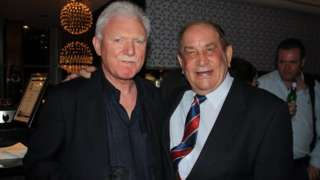 Dave Bolton (right) with Wigan chairman Ian Lenagan in Sydney in 2014