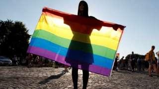 Budapeşte'de LGBT hakları için bayrak taşıyan bir kadın