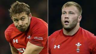 Leigh Halfpenny and Ross Moriarty