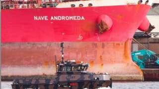 The Liberia-flagged oil tanker Nave Andromeda at Southampton Docks