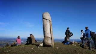 One family go for walk for hill for Bavaria