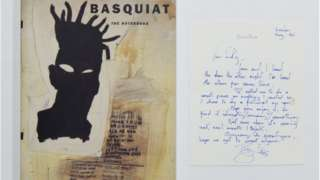 Image of David Bowies letter to Tricky and the from of Jean-Michel Basquiat's book 'notebook'