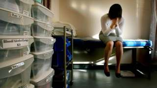 Rape victim in medical assessment centre (photo posed by model)