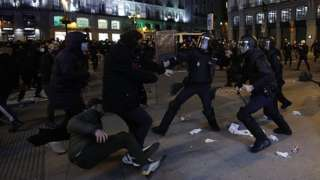 People stage a demonstration against the imprisonment of Spanish rapper Pablo Hasel in Madrid
