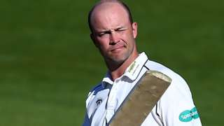 Jonathan Trott squints into The Oval sunshine after reaching the 41st first-class century of his career